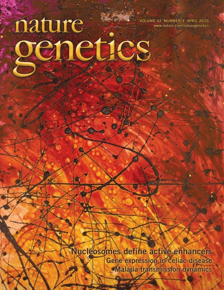 Nature Genetics Magazine Cover featuring A.D. Cook abstract art, 2010