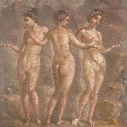The Graces in a 1st century fresco at Pompeii