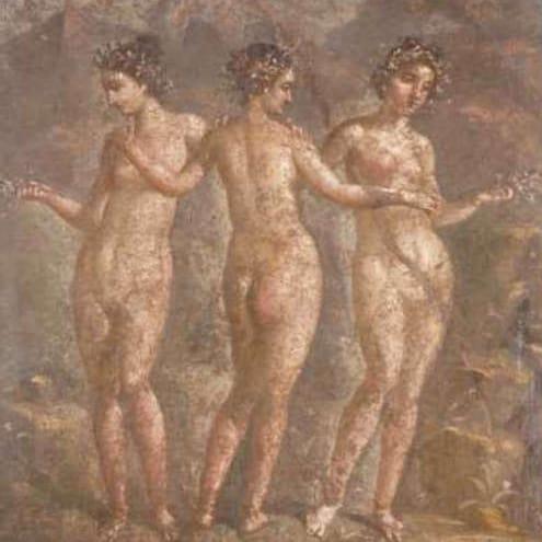 The Graces in a 1st century fresco at Pompeii
