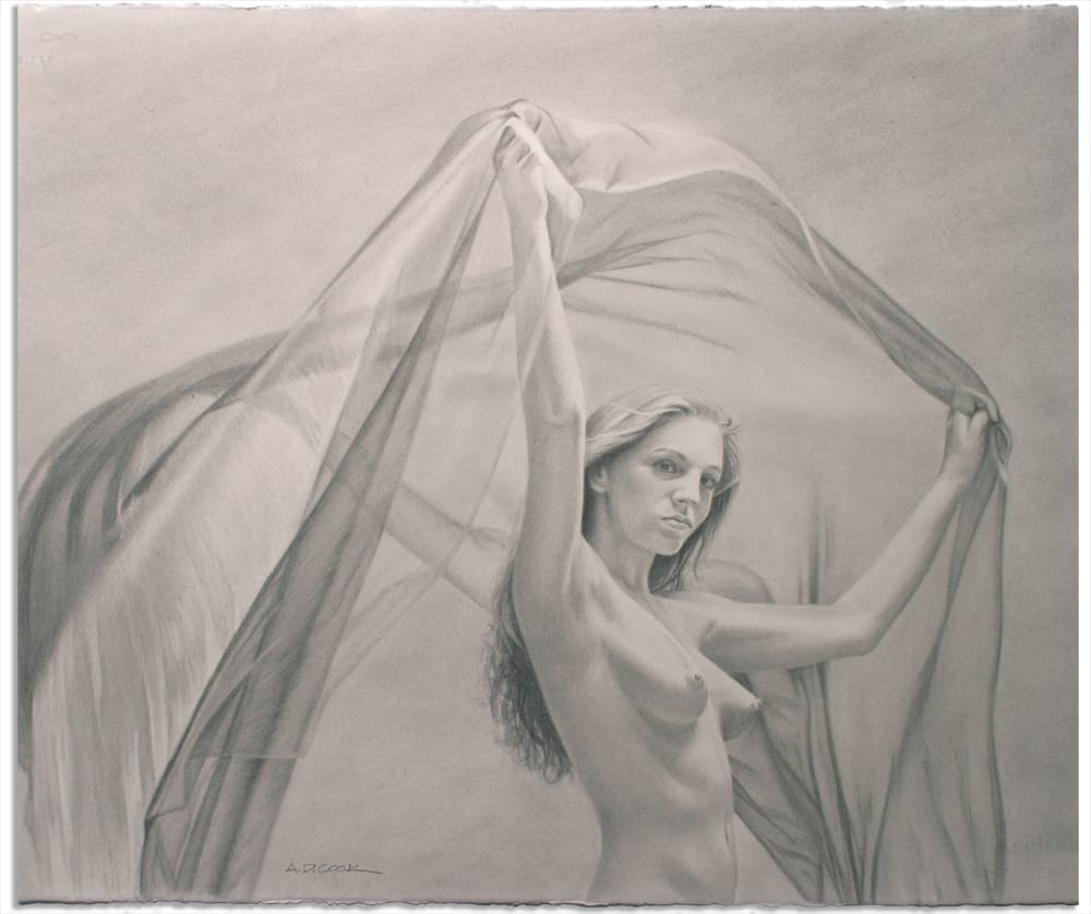 CATCHING WIND art nude drawing by A.D. Cook