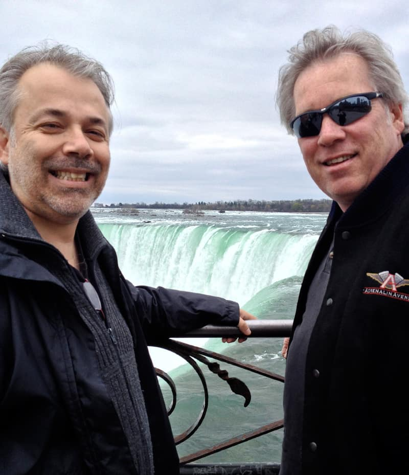Photographer and writer Dwayne Bell and artist A.D. Cook, Niagara Falls, Canada. Photo by Leanne Bell.