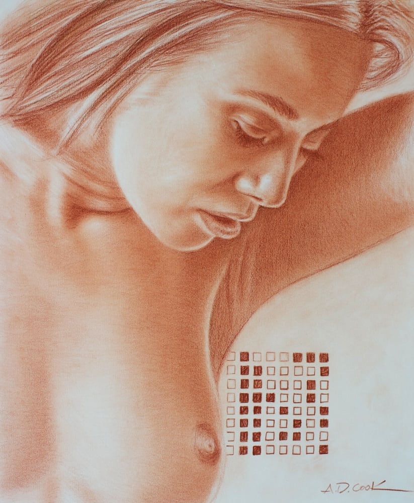Gabriela art nude conté pencil drawing by A.D. Cook, 2013