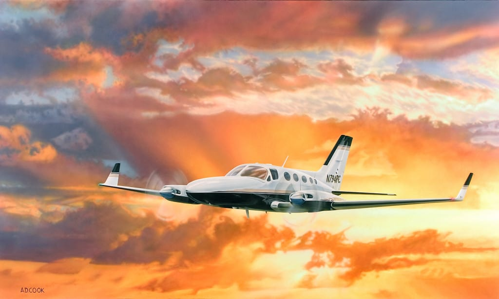 DEPARTURE airplane painting by A.D. Cook 2004