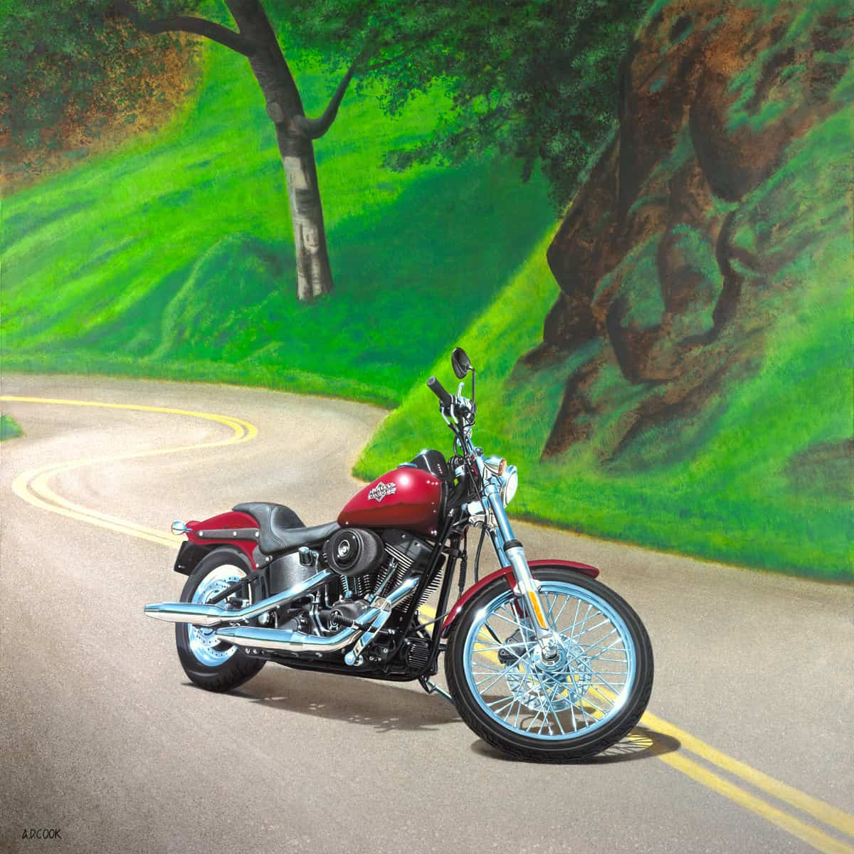 Harley-Davidson NIGHT TRAIN painting by A.D. Cook 2004