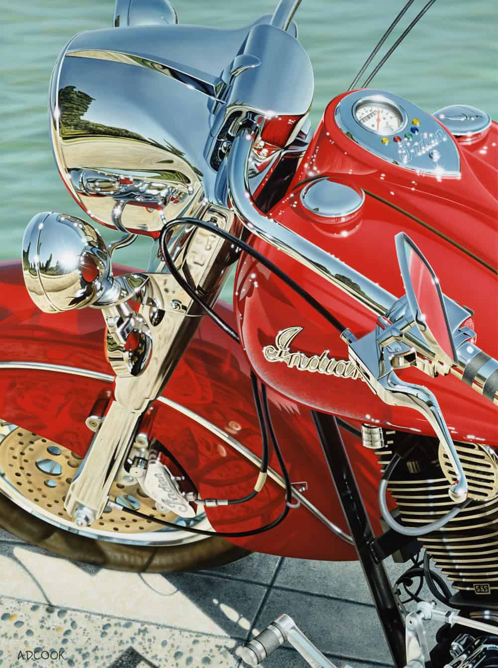 INDIAN SUMMER motorcycle painting by A.D. Cook, 2000