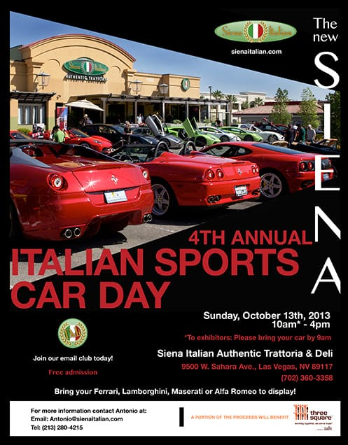 4th Annual Italian Sports Car Day Flyer at Siena Italian Authentic Trattoria, Las Vegas, NV