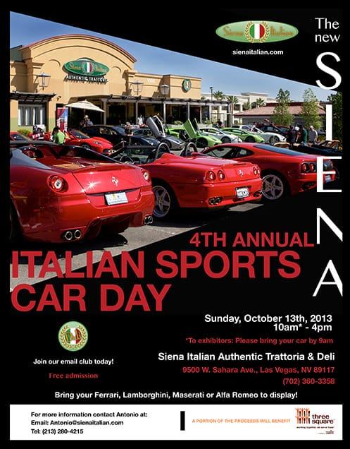 4th Annual Italian Sports Car Day Flyer at Siena Italian Authentic Trattoria, Las Vegas, NV