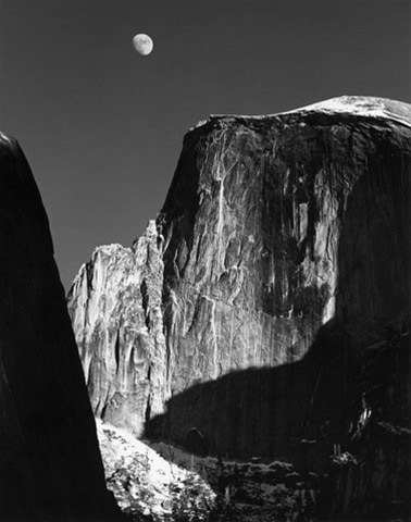 Moon and Half Dome by Ansel Adams, 1960