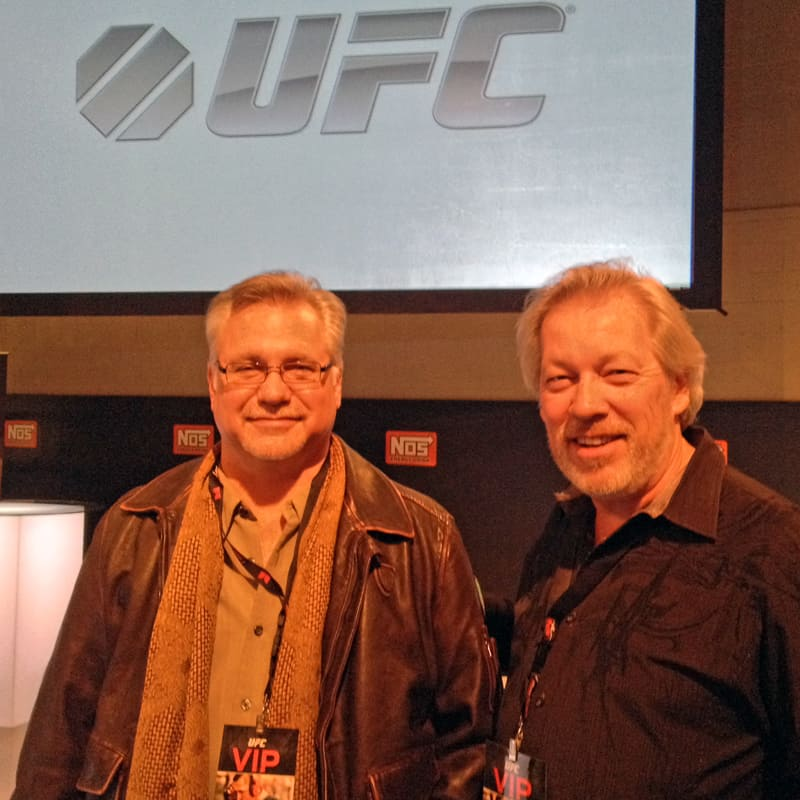 Tom Brazill from Lamborghini Las Vegas and artist A.D. Cook at the UFC Monster Party, Las Vegas, NV