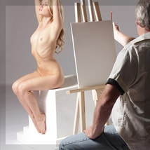 Artist A.D. Cook drawing Mia aka Gabriella