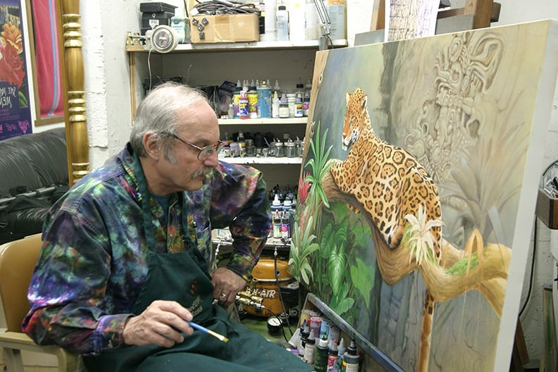 Artist Raphael Schnepf at the easel.