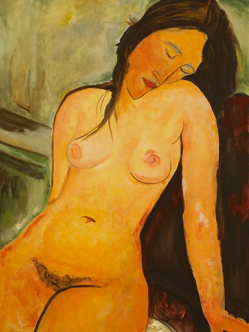 Modi+Sitting+Nude, acrylic on canvas, 18″ x 24″ © Jennifer McCarty