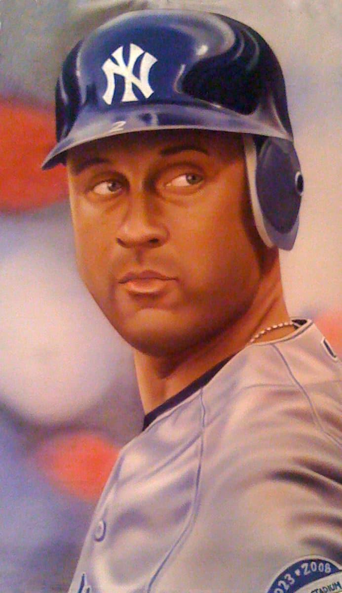 Derek Jeter portrait art by A.D. Cook