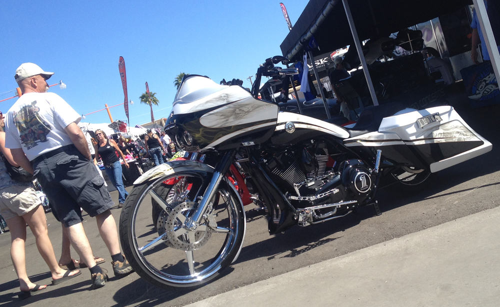 Black and White Bagger at AZ Bike Week 2014, Cave Creek, AZ