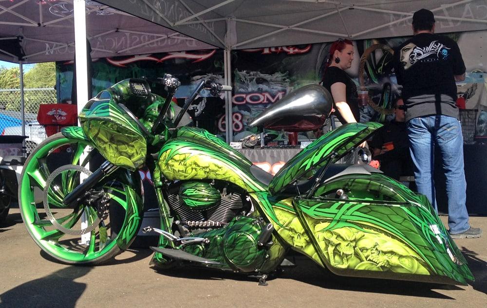 Green Skulls Bagger, AZ Bike Week, Cave Creek, AZ