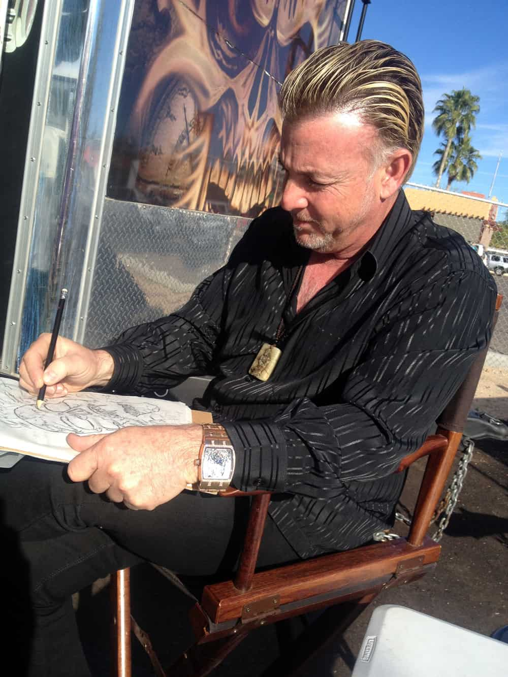Steve Soffa Drawing at AZ Bike Week 2014, Cave Creek, AZ