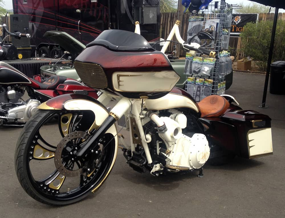 Custom Tan Bagger at Bike Week 2014, Cave Creek, AZ