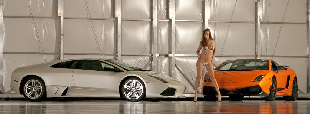 Jess Robinson photoshoot with Lamborghinis