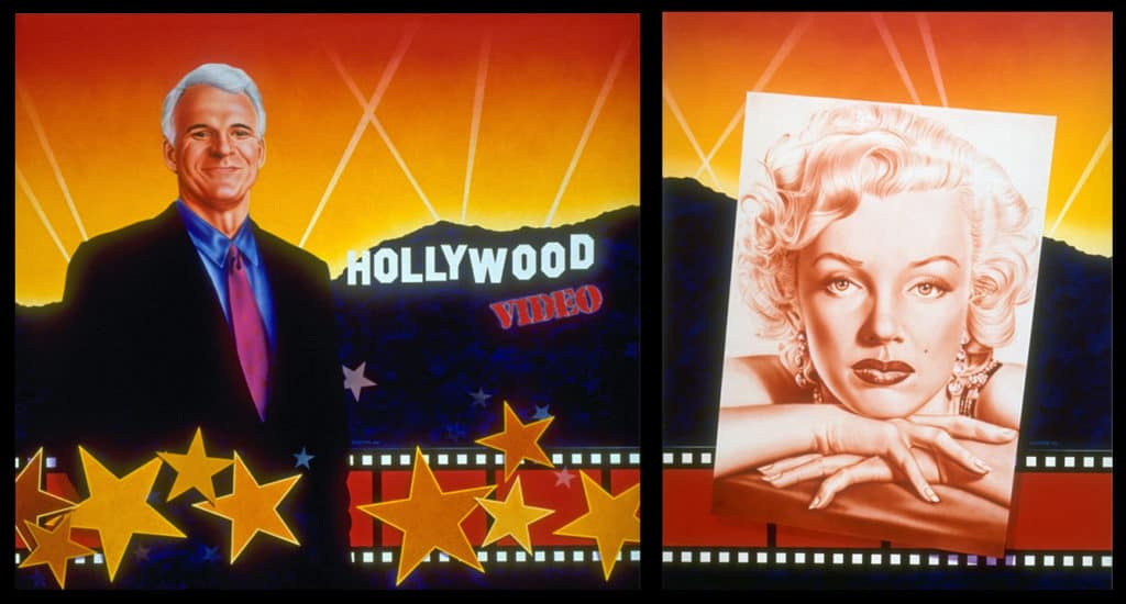 Hollywood Video mural with Steve Martin and Marilyn Monroe, by A.D. Cook