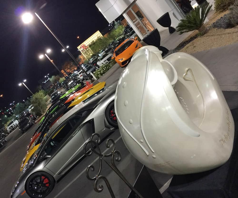 Lamborghini Aventadors - ADCook's St. Jude sculpture at Lamborghini Las Vegas