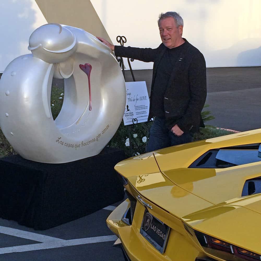 Lamborghini Aventador SV, St. Jude sculpture by A.D. Cook at Lamborghini Las Vegas