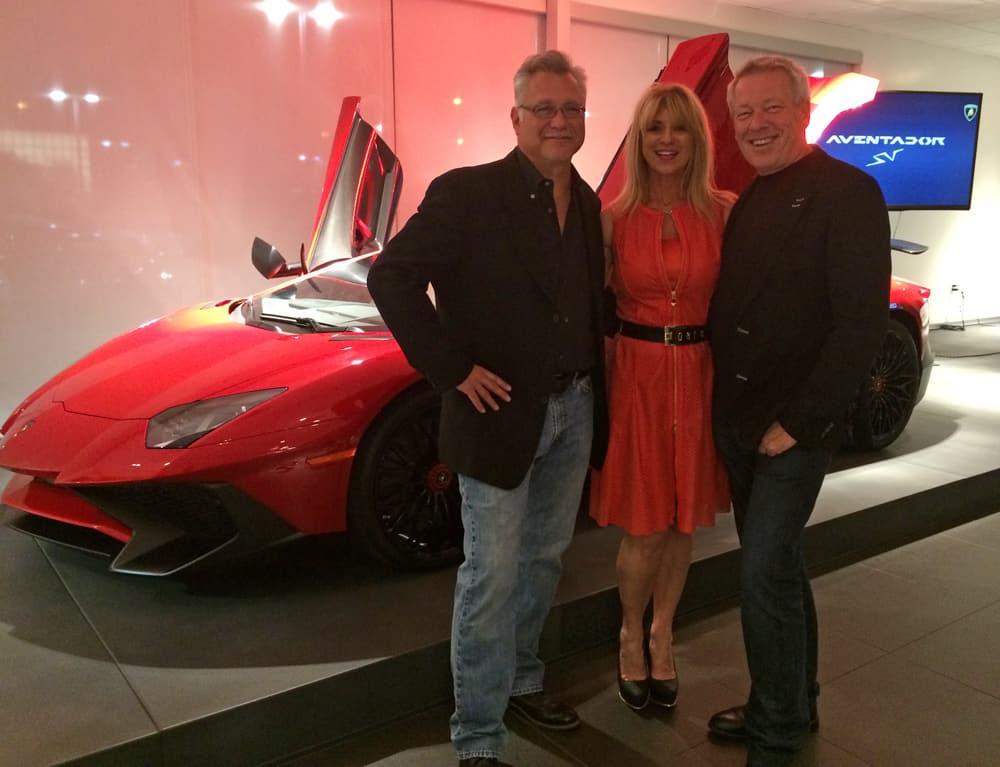 Tom Brazill, Beti Kristof and A.D. Cook at Lamborghini Las Vegas