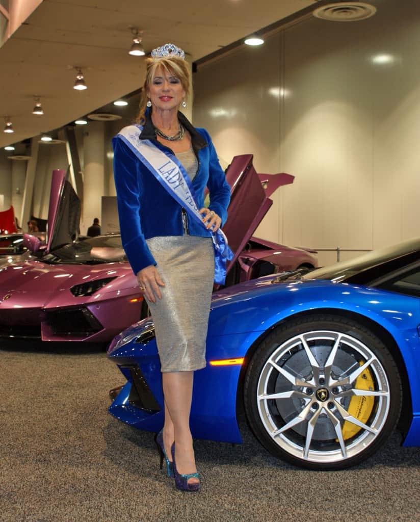 Motor Trend Auto Show with artsit Beti Kristof aka Ms. Lady Vegas with Blue Lamborghini Aventador Roadster