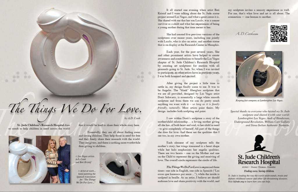 A.D. Cook's St. Jude sculpture in L'Vegue Magazine - Spring 2016