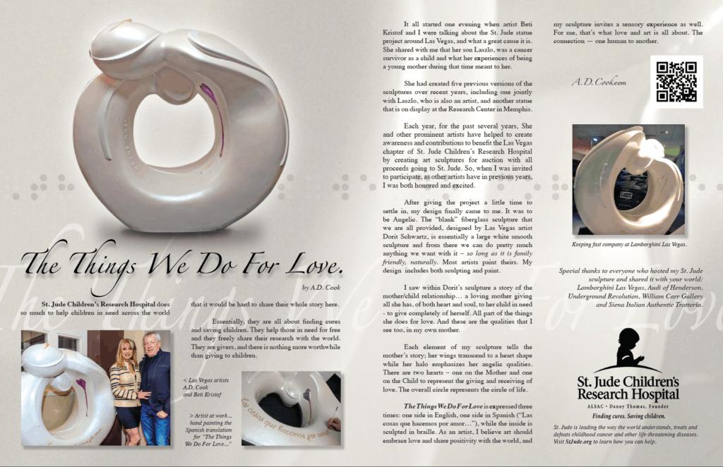 A.D. Cook's St. Jude sculpture in L'Vegue Magazine - Spring 2016