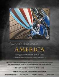 AMERICA First - A.D. Cook, motorcyle artist