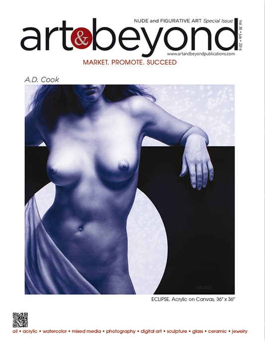 A.D. Cook painting featured on cover of Art & Beyond cover - Special Nude Edition 2016
