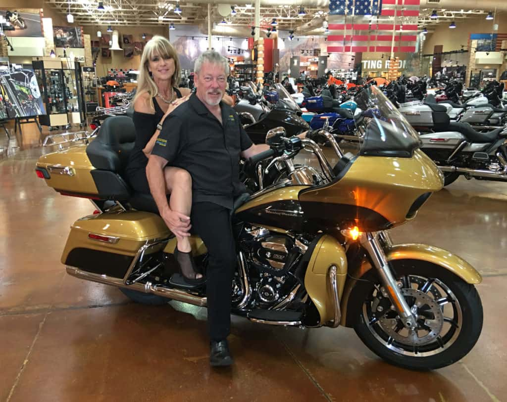 Beti Kristof and A.D. Cook on a H-D Road Glide, Red Rock Harley-Davidson, Las Vegas