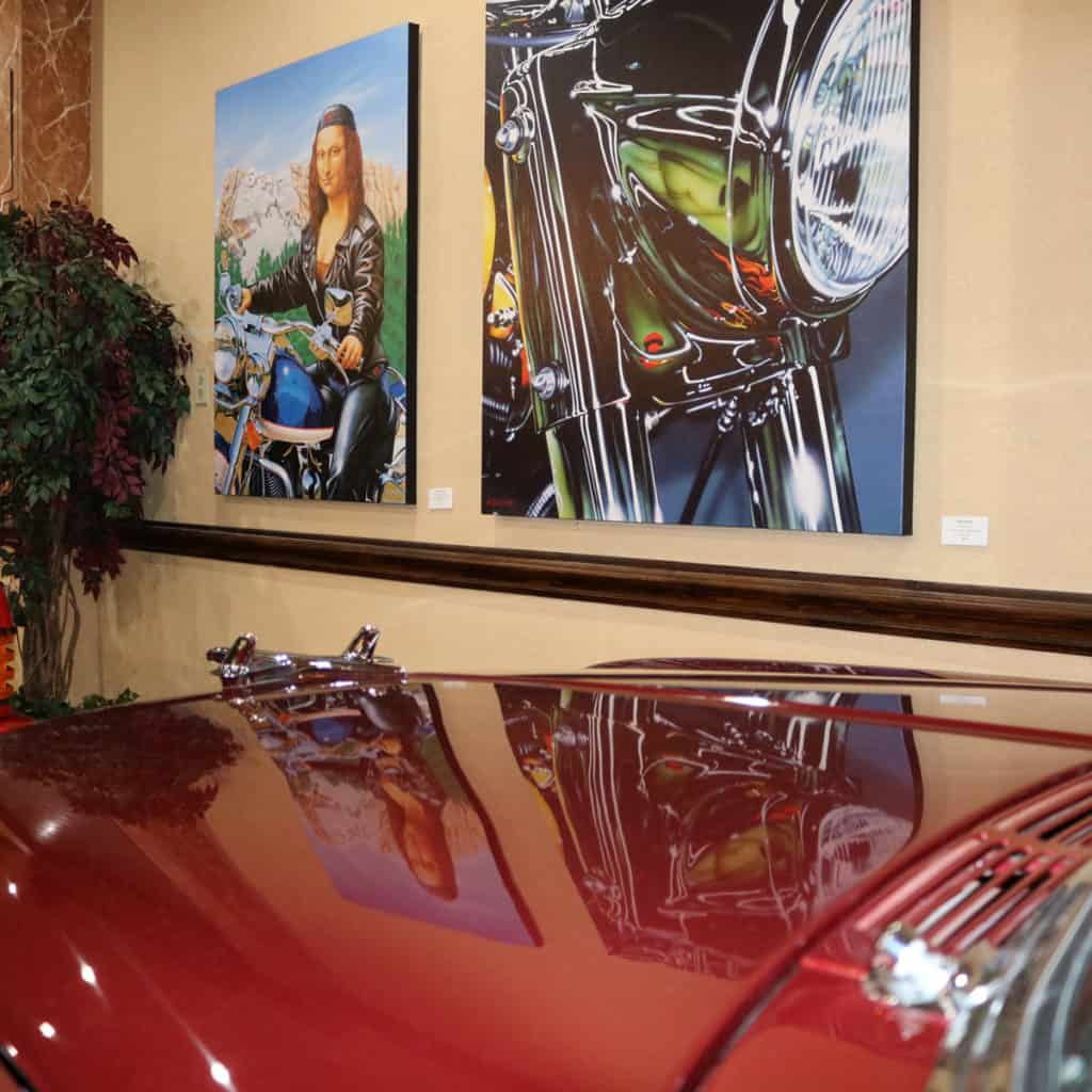 Raphael Schneph and A.D. Cook art at RailRoad Pass Show Cars, Henderson, NV