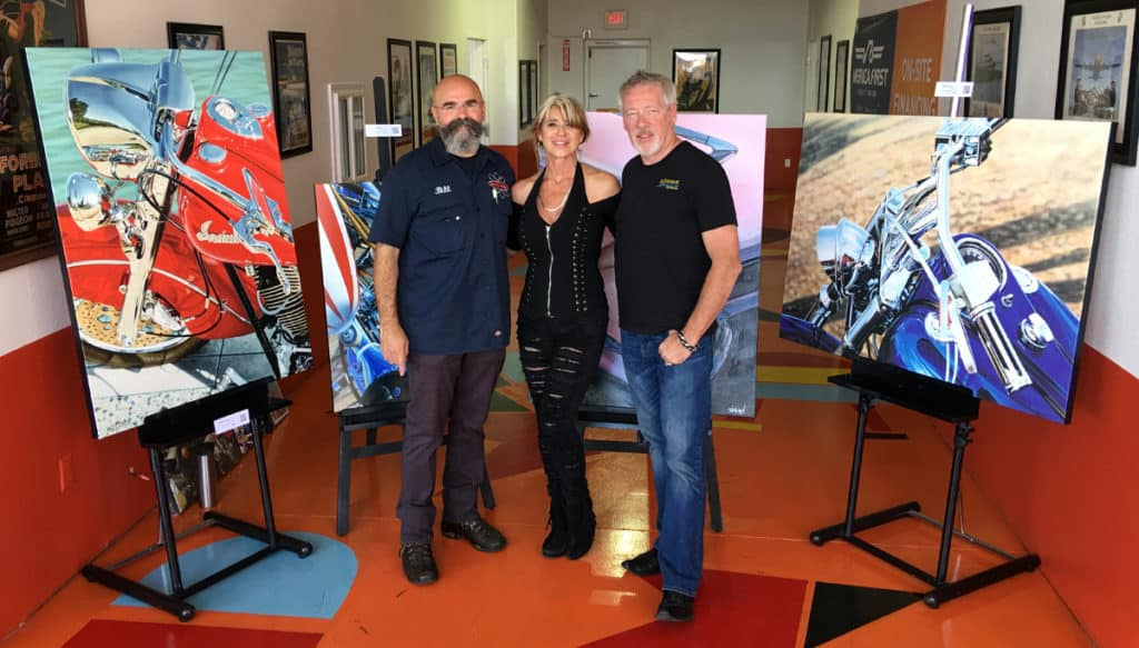 Bill Biler, Beti Kristof and A.D. Cook at Atomic Motors for BikeFest