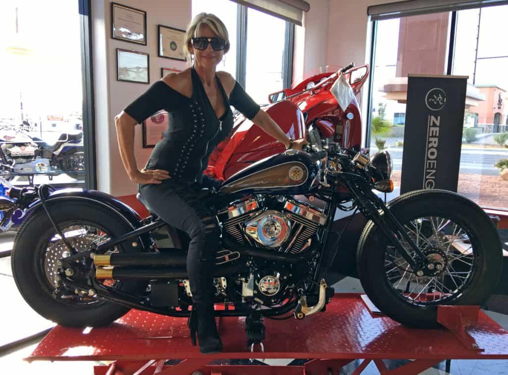 Artist Beti Kristof with Zero Motorcycle at Atomic Motorcycles