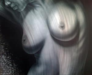 NYX art nude painting on metal by A.D. Cook