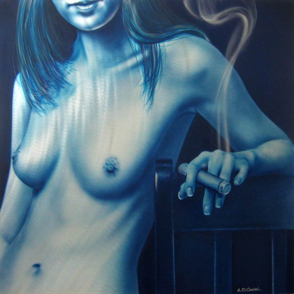 SOMETIMES A CIGAR 2 metal art nude by A.D. Cook