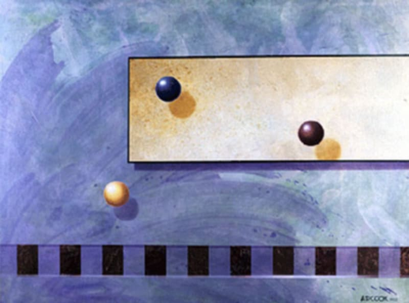 3 BALLS abstract painting by A.D. Cook