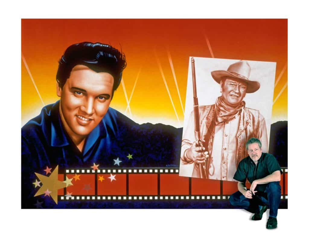 Hollywood Video artist A.D. Cook with Elvis & John Wayne mural