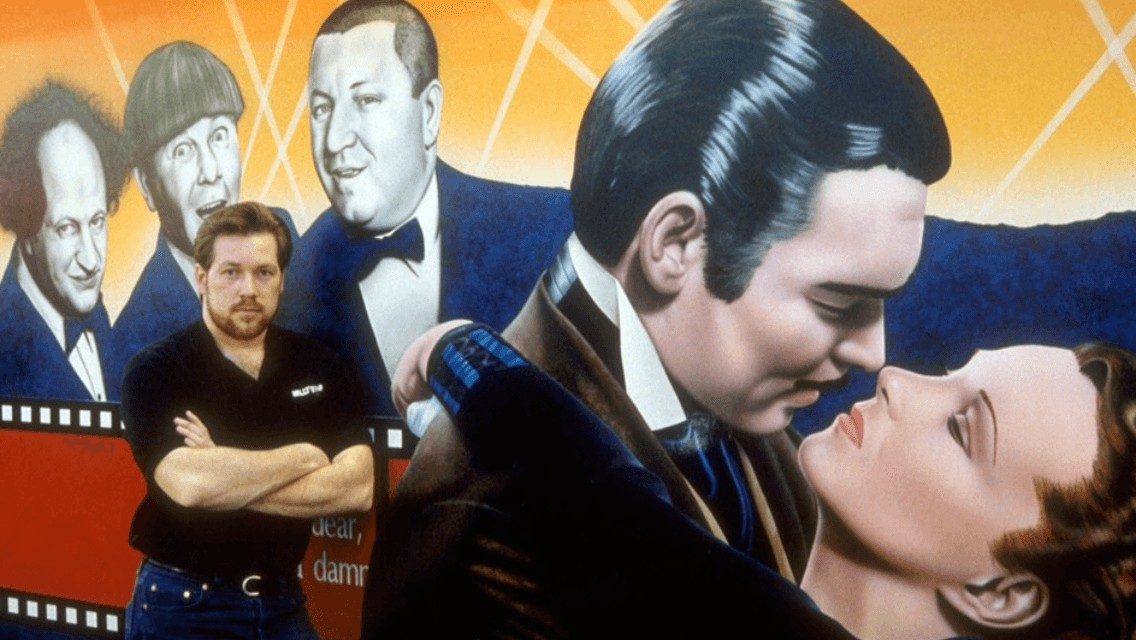 Artist A.D. Cook with Hollywood Video Mural, Lake Oswego, Oregon, 1991