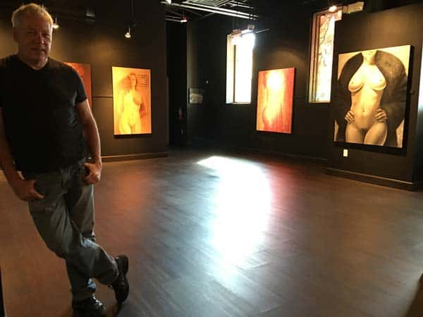 A.D. Cook with his art nudes at the Carr Gallery, Las Vegas, NV