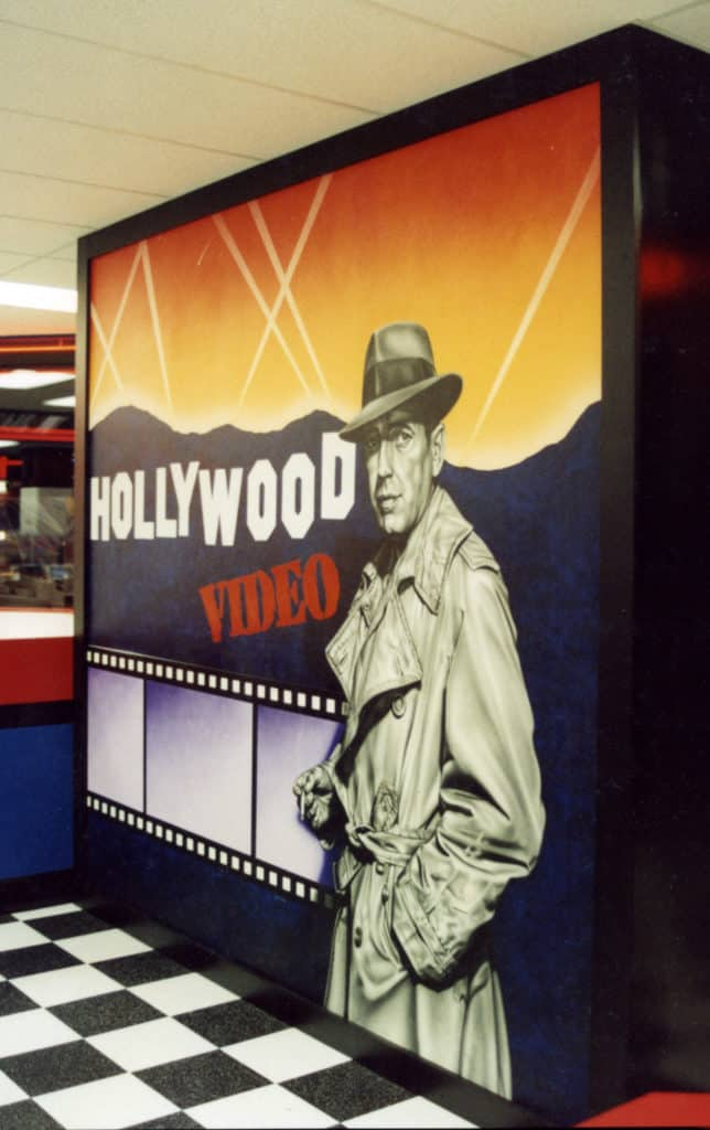 HUMPHREY BOGART wall mural by A.D. Cook for Hollywood Video