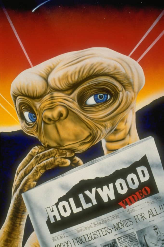 ET wall mural by A.D. Cook for Hollywood Video