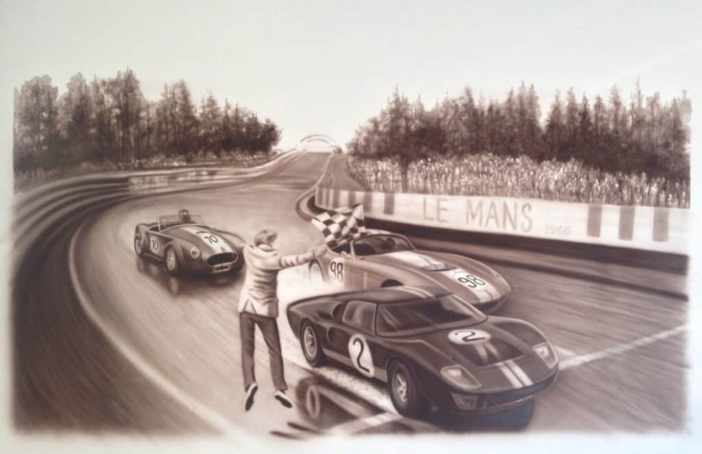Le Mans '66 wall mural A.D. Cook and Beti Kristof, Las Vegas, NV