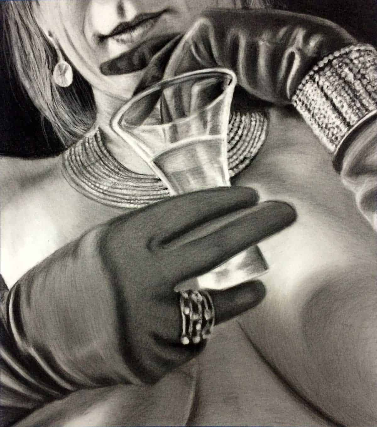 Zsa Zsa Charcoal Drawing by A.D. Cook